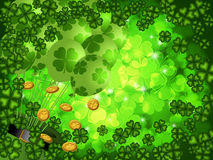 Shamrock Four Leaf Clover Background with Balloons stock illustration