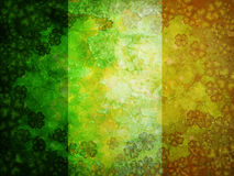 Shamrock Four Leaf Clover Grunge Flag Background. St Patricks Day Four Leaf Clover Shamrock with Grunge Texture Irish Flag Background Stock Photography