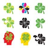 Shamrock, four leaf clover, puzzle concept.. Set of colorful icons of shamrock and four leaf clover as puzzle. Good luck theme design element. Vector available Stock Photo
