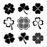 Shamrock and four leaf clover. Vector icons of shamrock and four leaf clover collection for St Patrick day Stock Photos