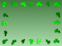 Shamrock Frame. A 3D-rendered frame of shamrocks, with a green gradient background Stock Images
