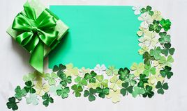 Shamrock cut paper frame for Patrick day Royalty Free Stock Photo
