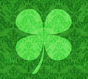 Shamrock on Green Damask Stock Photos