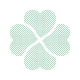 Shamrock - green four leaf clover icon. Simple vector dotted shape Stock Image