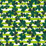 Shamrock green striped trefoil leaf seamless vector pattern. Stock Photography