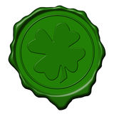 Shamrock green wax seal Stock Image