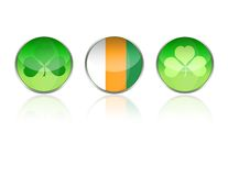 Shamrock icons web buttons. Green clover and Irish flag background buttons and icons specially for st. Patrick's day Royalty Free Stock Photos
