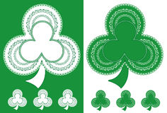 Shamrock Lace Doilies. Green and white Shamrocks for St. Patrick's Day, holidays and celebrations, for decorating, arts and crafts, sewing, scrap books. Copy Royalty Free Stock Photography