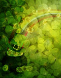 Shamrock Leaves Background with Pot of Gold Illustration Royalty Free Stock Photography