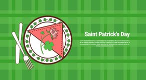 Shamrock Leaves And Flower On Served Plate Over Saint Patricks Day Banner With Green Checked Template Background. Vector Illustration Stock Images