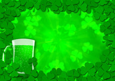 Shamrock Leaves Glass of Beer for St Patricks Stock Image
