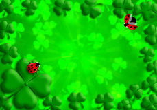 Shamrock Leaves Lucky Ladybug for St Patricks Day Royalty Free Stock Image