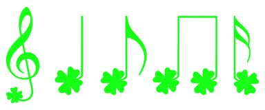 Shamrock musical notes Royalty Free Stock Images