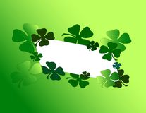 Shamrock Note Card. Cheerful shamrocks surrounding a blank note card Stock Photography