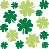 Shamrock pattern with four-leaf clovers in two green colors. Vector royalty free illustration