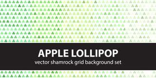 Shamrock pattern set Apple Lollipop. Vector seamless backgrounds. Green leaves on white backdrops Stock Image