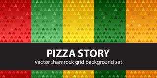 Shamrock pattern set Pizza Story. Vector seamless backgrounds. Red, light green, yellow, green, orange trefoils on gradient backdrops vector illustration