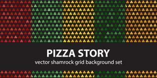 Shamrock pattern set Pizza Story. Vector seamless backgrounds. Red, light green, yellow, green, orange trefoils on black backdrops vector illustration