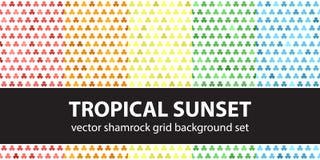 Shamrock pattern set Tropical Sunset. Shamrock pattern set `Tropical Sunset`. Vector seamless backgrounds: red, orange, yellow, green, blue shamrocks on white Royalty Free Stock Photography