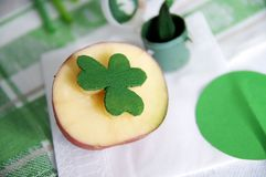 Shamrock potato stamp for St-Patrick's decoration Royalty Free Stock Image