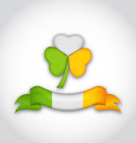 Shamrock and ribbon in traditional Irish flag colors for St. Pat Stock Photos