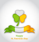Shamrock and ribbon in traditional Irish flag colors for St. Pat Stock Image