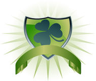 Shamrock Shield. 3D lucky Irish clover on a green shield with banner Stock Photography