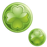 Shamrock sign. Four leaf clover on sphere button icon - design element Royalty Free Stock Image