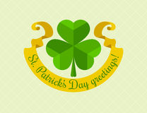 Shamrock symbol for saint patricks day with ribbon Royalty Free Stock Images