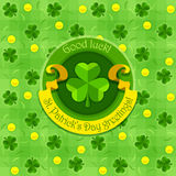 Shamrock symbol for saint patricks day with ribbon Royalty Free Stock Photos