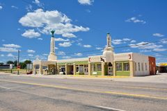 Art deco U-Drop Inn Conoco Station Tower Station on Route 66. Shamrock, Texas - July 20, 2017: Art deco U-Drop Inn Conoco Station Tower Station on Route 66 royalty free stock photography