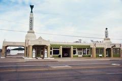 Shamrock, Texas - March 10, 2019 .  U-Drop Inn Conoco Station Tower Station on Route 66. Shamrock, Texas - March 10, 2019: Art deco U-Drop Inn Conoco Station stock photography