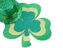 Shamrock and Top Hat. Three different shamrocks with glittering top hat on white Royalty Free Stock Photo