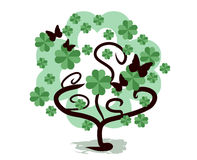 Shamrock tree. Abstract shape of shamrock tree with butterflies Stock Images