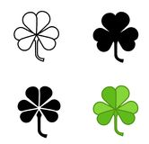Shamrock vector icon trefoil art set.Shamrock vector icon of 4 types color, black and white, outline. Isolated vector sign symbol. Shamrock vector icon of 4 Stock Photos