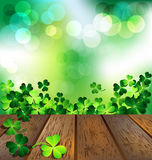 Shamrock on wooden floor for St. Patricks Day card Royalty Free Stock Photography