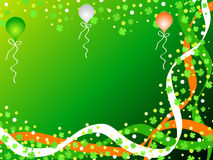 Shamrocks and balloons. Irish flag colors and green shamrocks with balloons for St Patrick day celebration Stock Image
