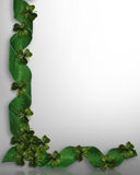 Shamrocks border St Patricks day. 3D Image and Illustration composition for St Patrick's Day greeting Card, background, border or frame with green ribbons Stock Image