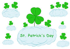 Shamrocks in clouds Royalty Free Stock Photos