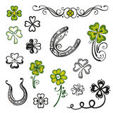 Shamrocks, clover, design elements Stock Image