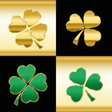 Shamrocks Gold Green Black Pattern Stock Photo