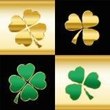 Shamrocks Gold Green Black Pattern Stock Photo