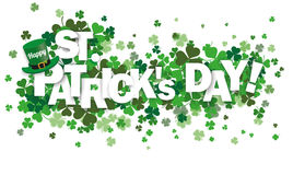 Shamrocks Happy St Patrick. Green shamrocks on the white with text Happy St. Patrick's Day Royalty Free Stock Images