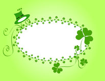 Shamrocks and a hat frame Royalty Free Stock Photo