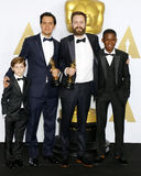 Shan Christopher Ogilvie, Benjamin Cleary, Abraham Atta and Jacob Tremblay. At the 88th Annual Academy Awards - Press Room held at the Loews Hollywood Hotel in royalty free stock images