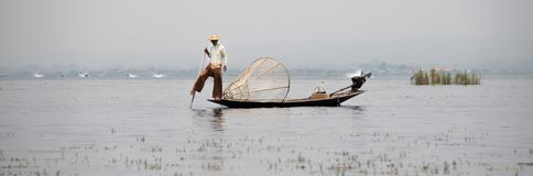 Shan fisherman on Inle Lake stock photo