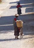 Shan woman with  bicycle Royalty Free Stock Images