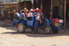 Shan women leaving the weekly market. AUNG BAN, BURMA - FEB 28, 2015 - Shan women leaving the weekly market in a truck, Inle Lake Myanmar (Burma Royalty Free Stock Images