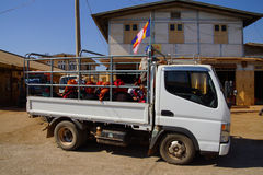 Shan women leaving the weekly market. AUNG BAN, BURMA - FEB 28, 2015 - Shan women leaving the weekly market in a truck, Inle Lake Myanmar (Burma Stock Images