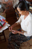 Shan women making decorations Royalty Free Stock Photos